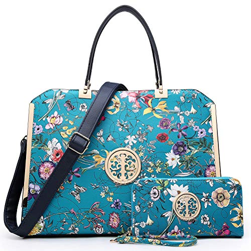 Dasein Women Handbags Purses Vegan Leather Satchel Structured Work Bag Shoulder Totes for 13 Inches Laptop Tablet (Blue Floral)