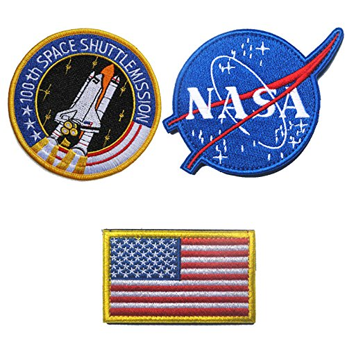 Classic Tactical NASA Patches Lot with American Flag Iron On Patches for Team Morale (3 Pcs)