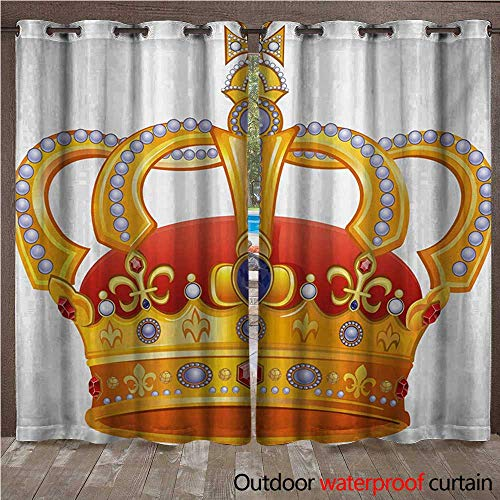 Imperial Neon Sign (King Home Patio Outdoor Curtain Royal Crown with Gem Like Image Symbol of Imperial Majestic PrintW120 x L84 Orange White Blue Marigold)