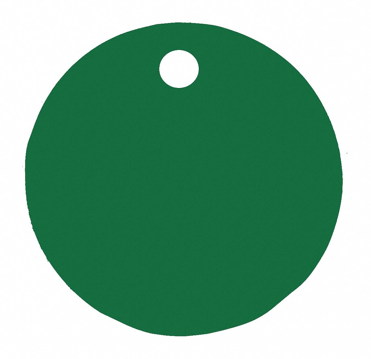 Green Blank Tag, Aluminum, Round, 1'' Height, 5 PK