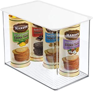 mDesign Plastic Stackable Kitchen Pantry Cabinet or Refrigerator Food Storage Container Bin Box with Attached Lid - Organizer for Snacks, Produce, Pasta - Deep Container - Clear/White Lid