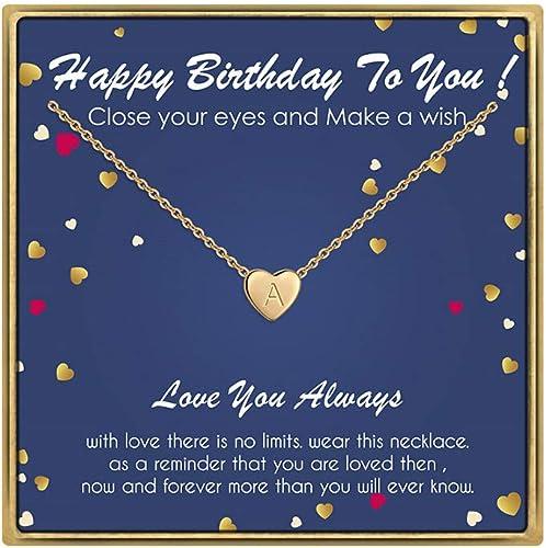 Amazon.com: Collar con inicial de regalo de cumpleaños para ...