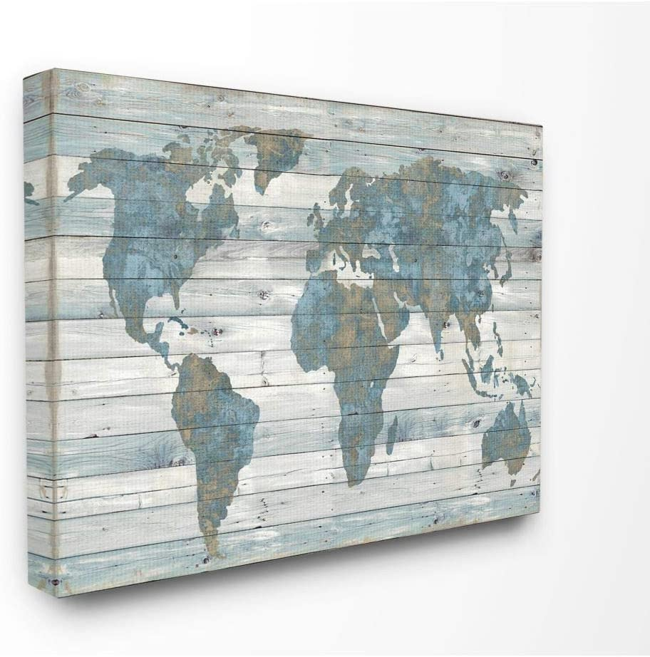 Stupell Industries Slate Blue and Tan Rustic Planked Look Weathered World Map Canvas Wall Art, 16 x 20, Design by Artist Jamie MacDowell