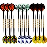 MAXMAU 18 Packs of Steel Tip Darts Set Slim Barrel with PVC Dart Flights and Nylon Shafts