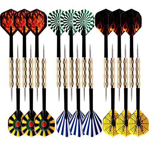 18 Packs of Steel Tip Darts Set Slim Barrel with PVC Dart Flights and Nylon Shafts (Dart Tips Steel Replacement)