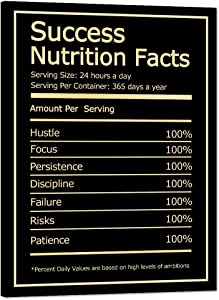 Modern Success Nutrition Facts Motivational Posters with Wooden Frame Entrepreneur Inspirational Quotes Picture Prints on Positive Posters and Prints Easy to Hang for Office Home Decor - 18''W x 24''H