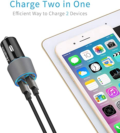 AirPods iPad Pro//Air//mini Meagoes Fast iPhone Car Charger 24W Rapid Dual USB Port Car Adapter with 3ft MFi Lightning Cable Apple MFi Certified Compatible iPhone XS Max//XS//XR//X//8 Plus//8//7 Plus//7//SE