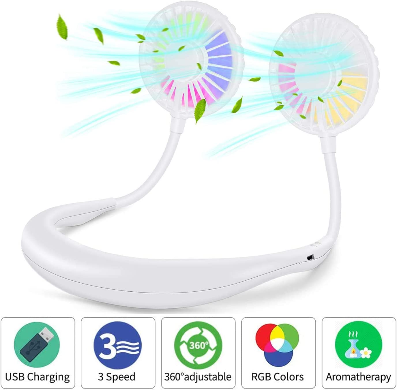 Portable USB Neck Fan,Premium Rechargeable HandsFree Personal Fan Handheld Fan with 3 Speed, 7 Colors LED lights for Men and Women Sports Travel Office Camping(White)
