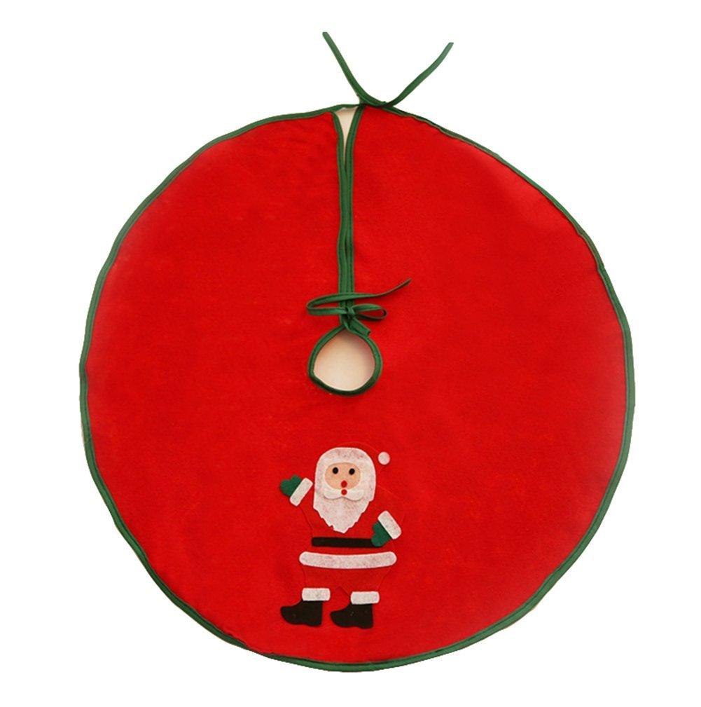 Hosaire Christmas Tree Skirt Ornaments Red Happy Santa Design Burlap Xmas Tree Decoration Christmas Party Supplies 24 inch