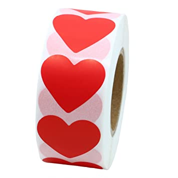 Codificación de Color Hybsk Dot etiquetas 30 mm corazón papel Natural pegatinas etiqueta adhesiva 1,000 por rollo, color rosso
