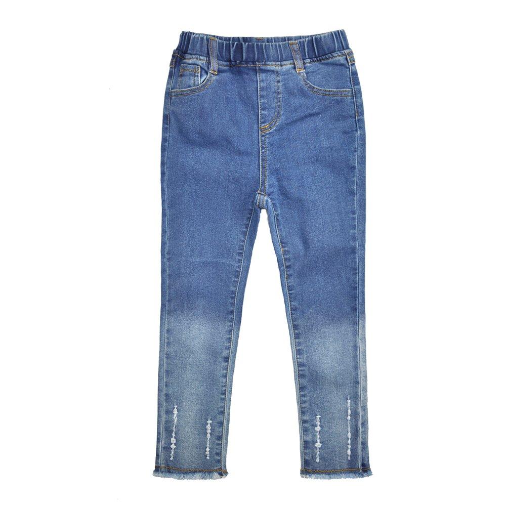 AIMBAR Kids Girls Fashion Slim Elastic Waist Denim Pant Jeans Size 4-13 Years (5-6 Years)