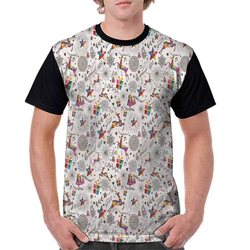 BlountDecor Performance T-Shirt,Vibrant Hipster Deer Fashion Personality Customization