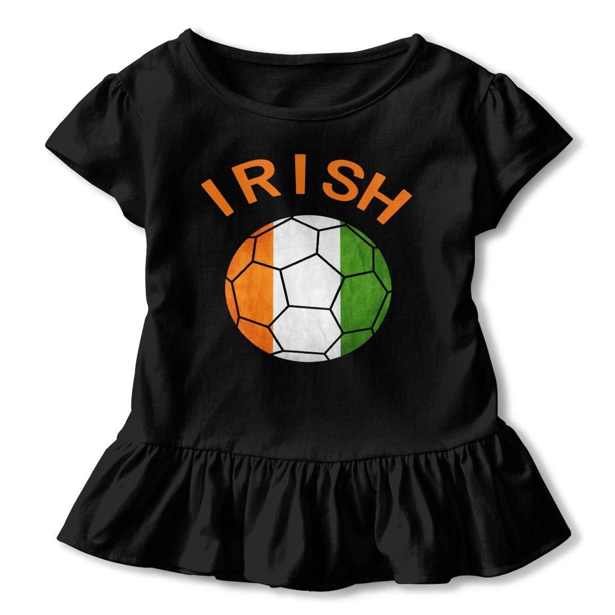 SHIRT1-KIDS Irish Soccer Shirt Childrens Girls Short Sleeve Ruffles Shirt Tee Jersey for 2-6 Toddlers