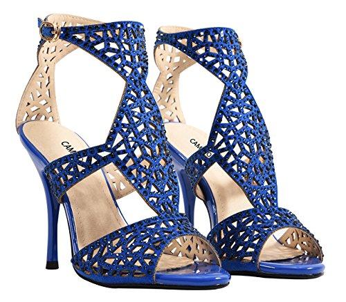 Party Sandals Cutouts High Strap Dress Women's Heels Blue Ankle Stiletto Crystal Sparkle wCE8qgv
