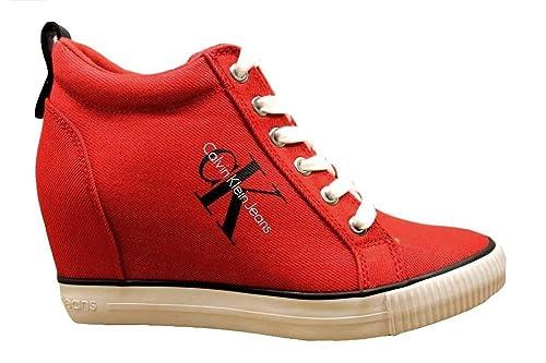 Calvin Klein Mujer Zapatillas De Deporte Ritzy Denim R8957 Vaqueros Rojo y Azul Botas Safari Zapatos