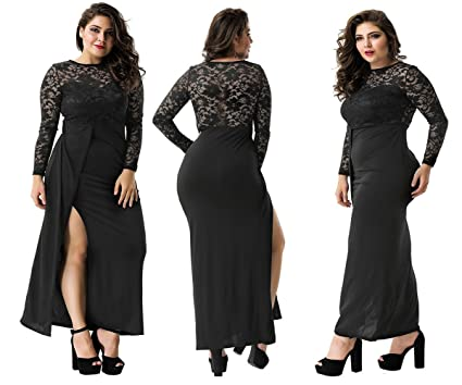 Labellebelle Plus Size Dress Runway Lace Black Split Robes Dresses