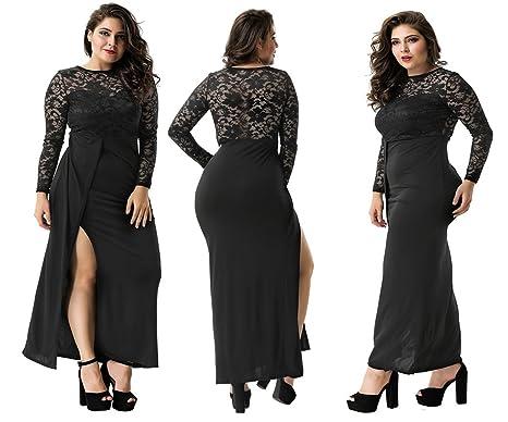 f92e428686 Labellebelle plus size dress runway lace black split robes dresses for  women plus size dresses for women special occasion - Black -  Amazon.co.uk   Clothing