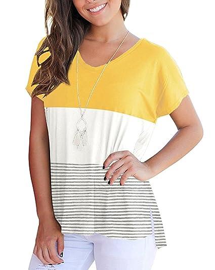 ZiXing Camiseta de Mujer de Manga Corta Rayas Color Block Blusas de Túnica Verano Amarillo Large