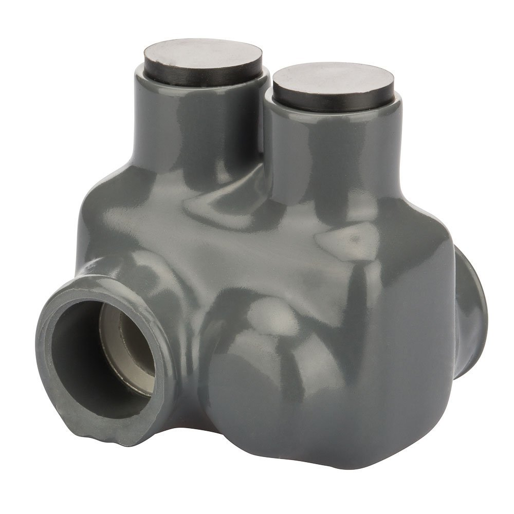 Polaris Grey Insulated Connector for Fine-Stranded Flexible Copper Conductor, 3/0-4 AWG and 2/0-2 AWG Wire Range, 2 Ports, 3/16'' Hex, 1.75'' Width, 1.87'' Height, 1.84'' Length