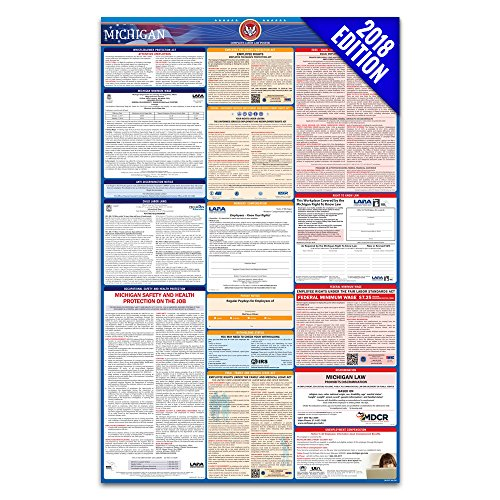 2018 Michigan Labor Law Poster – State & Federal Compliant – Laminated (Ca Wage Minimum Poster)