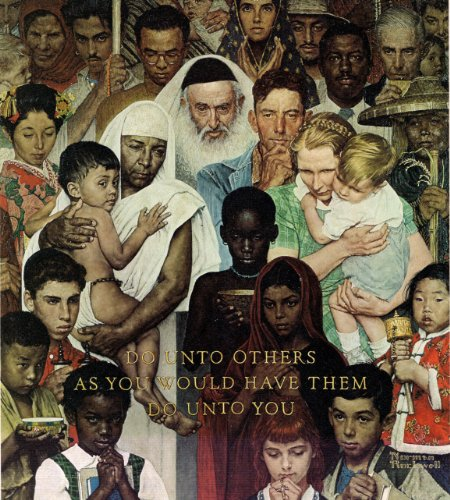 The Golden Rule 1961 Norman Rockwell Print - 8 in x 9 in - Matted to 11 in x 14 in - Mat Colors Vary