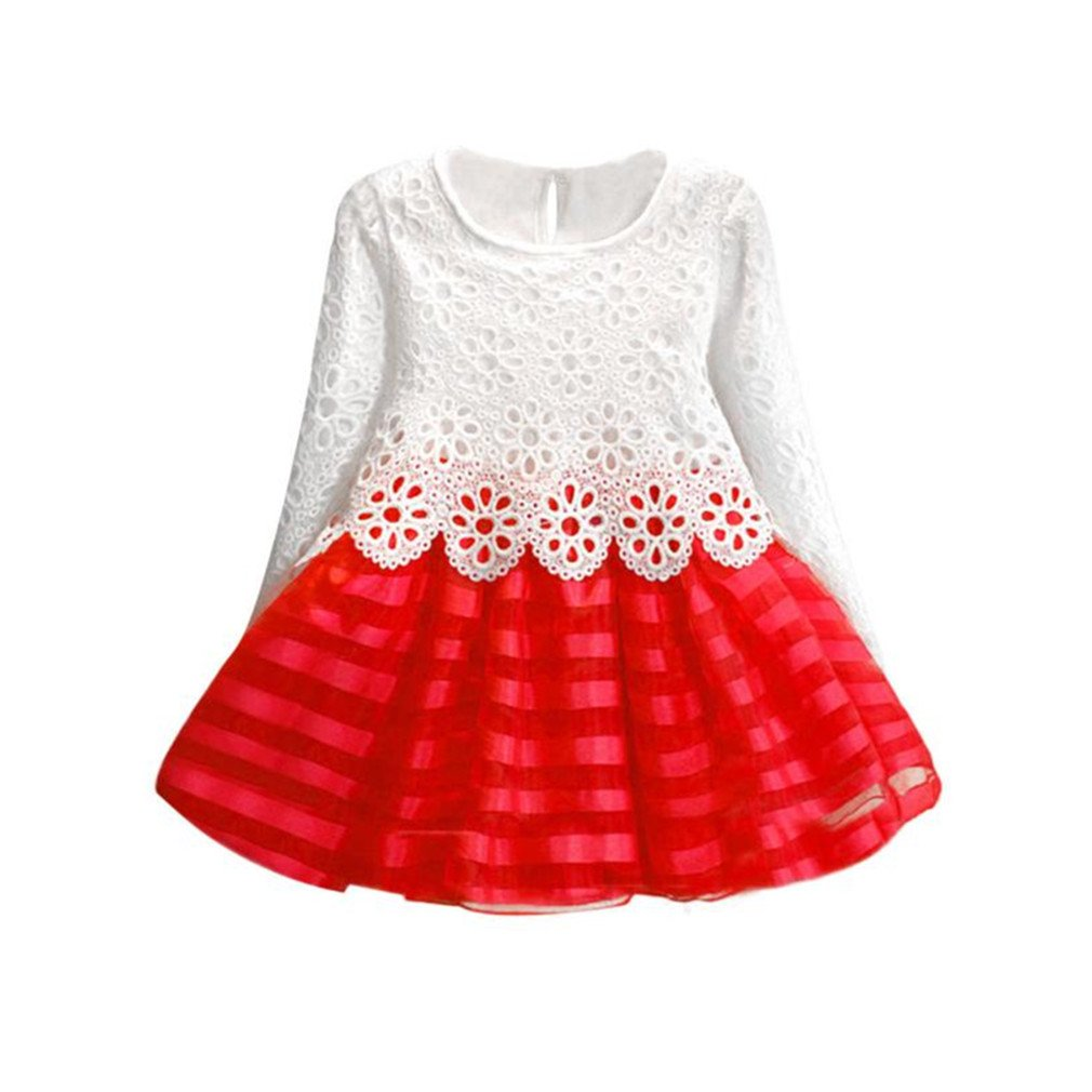 Koly Girls Kids Long Sleeve Princess Dresses Hollow Flower Wedding Party Dresses Koly-DG0142