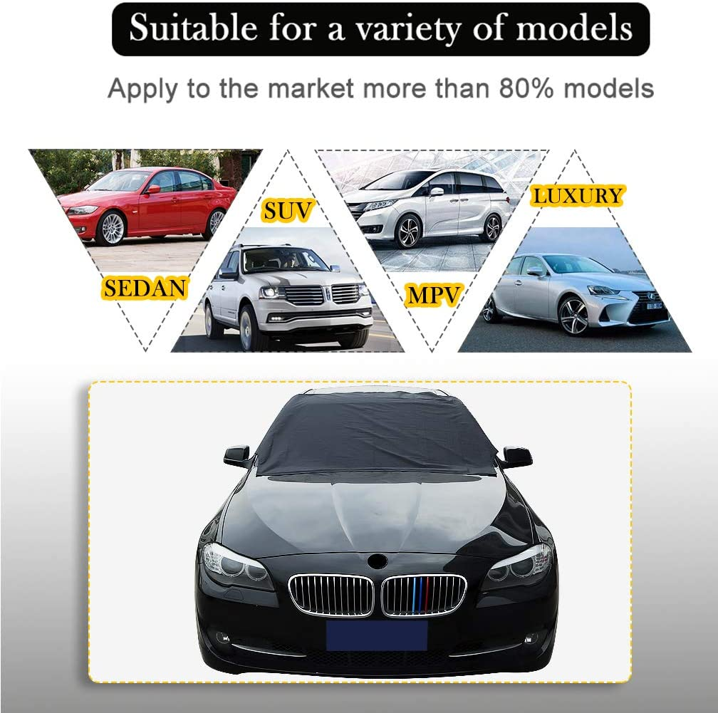 All Season Car Care Protector for Car SUV BiBOSS Car Windshield Snow Cover Magnetic Edges Car Sun Shade Ice Cover Anti Snow Frost Ice Shield Dust