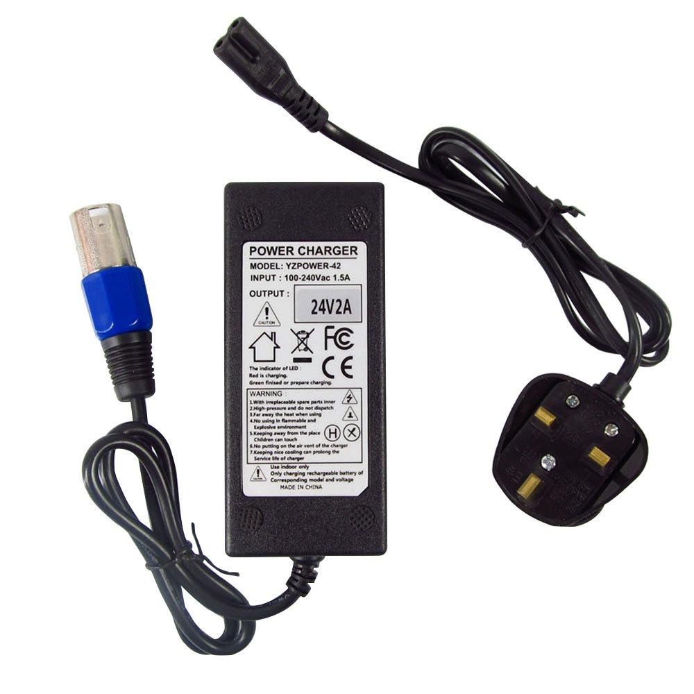 Abakoo Chargeur de batterie pour véhicules électriques (scooters, vélos, hoverboards, fauteuils électriques) modèles Schwinn S500eZip 4.0400500750900avec transformateur à connecteur XLR, 24V 4A