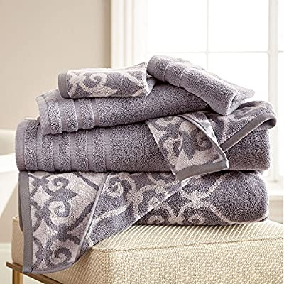 6 hilo teñido juego de toallas Entramado Rod | incluye – 2 Paños, 2 toallas de baño y 2 toallas de mano