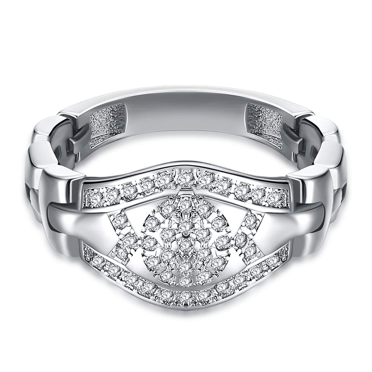 Japanese Style Crystal Watch Shape Band Ring (Platinum Plated, 7)