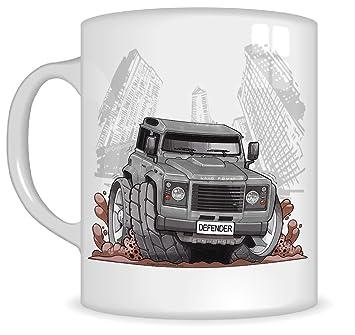 Koolart Gifts K3164-MG Cartoon of Land Rover Defender - Caricature silver Land Rover Mug