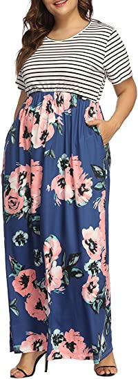 Women's Plus Size Floral Print Striped Patchwork Maxi Dress