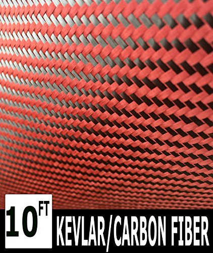 Kevlar (Red 10 Ft x 1 Mtr) Carbon Fiber Fabric-Twill WEAVE-3K/200g