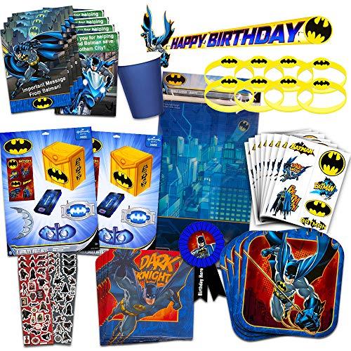 DC Comics Batman Party Supplies Ultimate Set -- Batman Party Favors, Birthday Party Decorations, Plates, Cups, Napkins, Invitations and More]()
