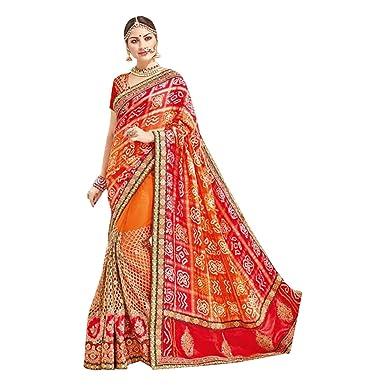 2db7b691ddfbaa Indian Bridal Hot Red Handwork Banarasi Silk Saree Party Saree Sari Blouse  Wedding Nepal Indian Festival