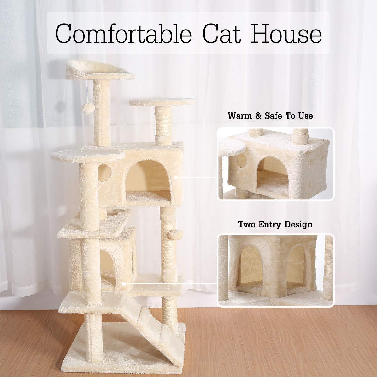 /Árbol para Gato con Rascador Gatos Juguetes para Gatos de Plataformas Bolas de Juego Sisal Natural,Beige 136cm