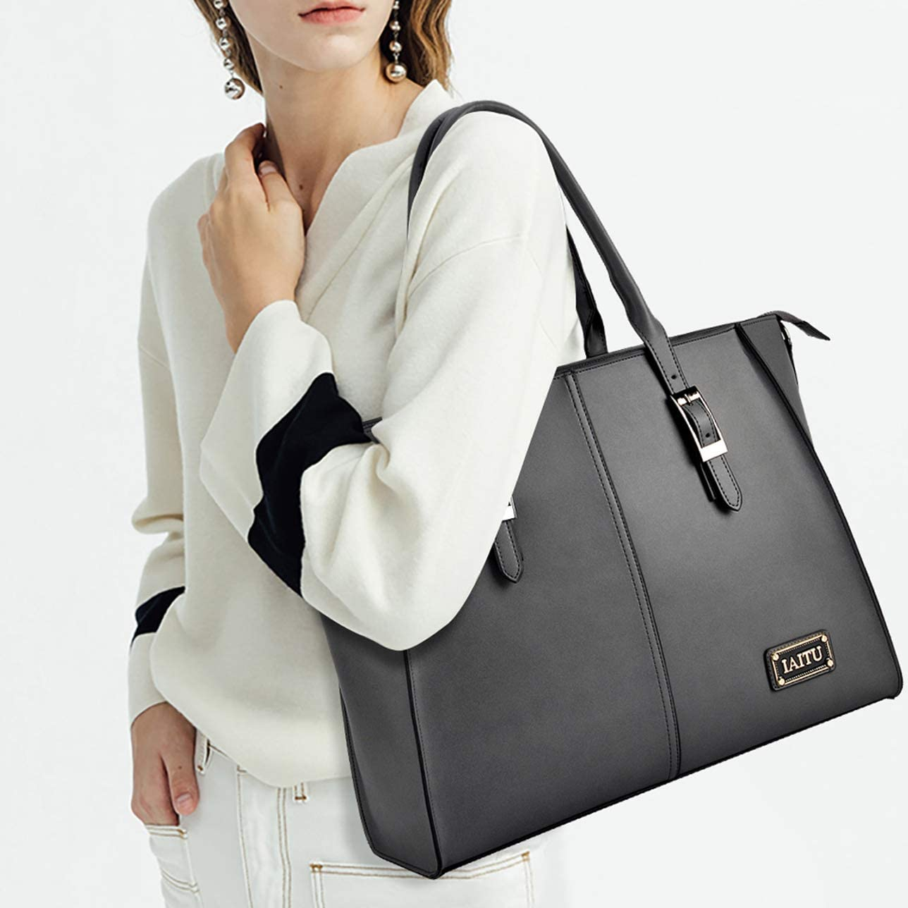 Black Best Laptop Bag for Women,15.6 Inch Computer bag Large Work Tote Bags Briefcase for Women