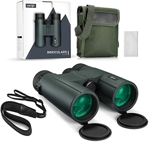 OUTLIFE 10X42 Binoculars for Adults, Waterproof Fogproof Roof Prism Binoculars for Bird Watching,Hunting and Sport Games,Traveling with Phone Mount Strap, Cleaning Cloth and Carrying Bag Green