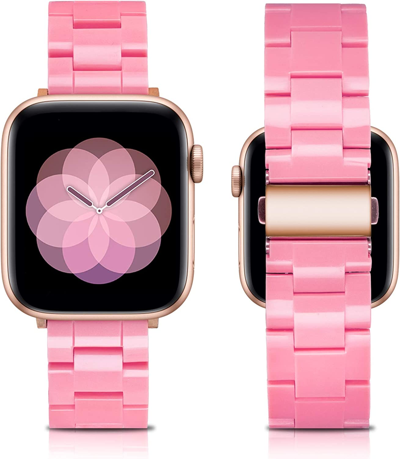 LINXUXIE Resin Band Compatible with Apple Watch Bands 38mm 40mm Series SE/6/5/4/3/2/1 Women Men,Waterproof and Stylish Replacement Strap With Stainless Steel Buckle For iWatch