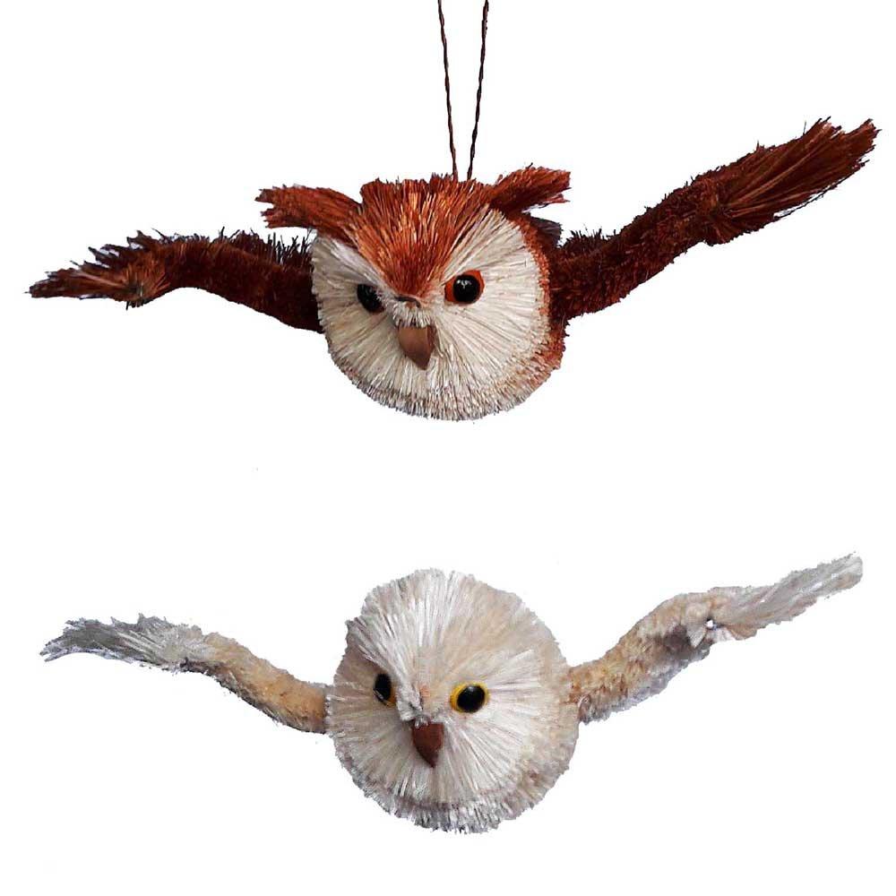 Kurt Adler YAMS0730 7'' Buri Flying Owl Ornament Set of 2