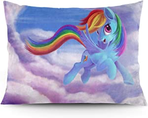 OKIJH Pillow Case Rainbow Dash My Little Pony Friendship is Magic Throw Pillow Covers Cases Zipper, Pillowcases for Home Decor Design Standard Size 20x26 Inch