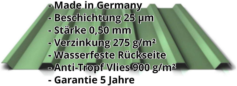 Farbe Resedagr/ün Beschichtung 25 /µm St/ärke 0,50 mm Profil PS35//1035TRA Trapezblech Profilblech Dachblech Material Stahl