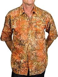 Artisan Outfitters Mens Surfboard Shortboard Batik Cotton Hawaiian Shirt (Small, Auburn Russet) A0214-54-S