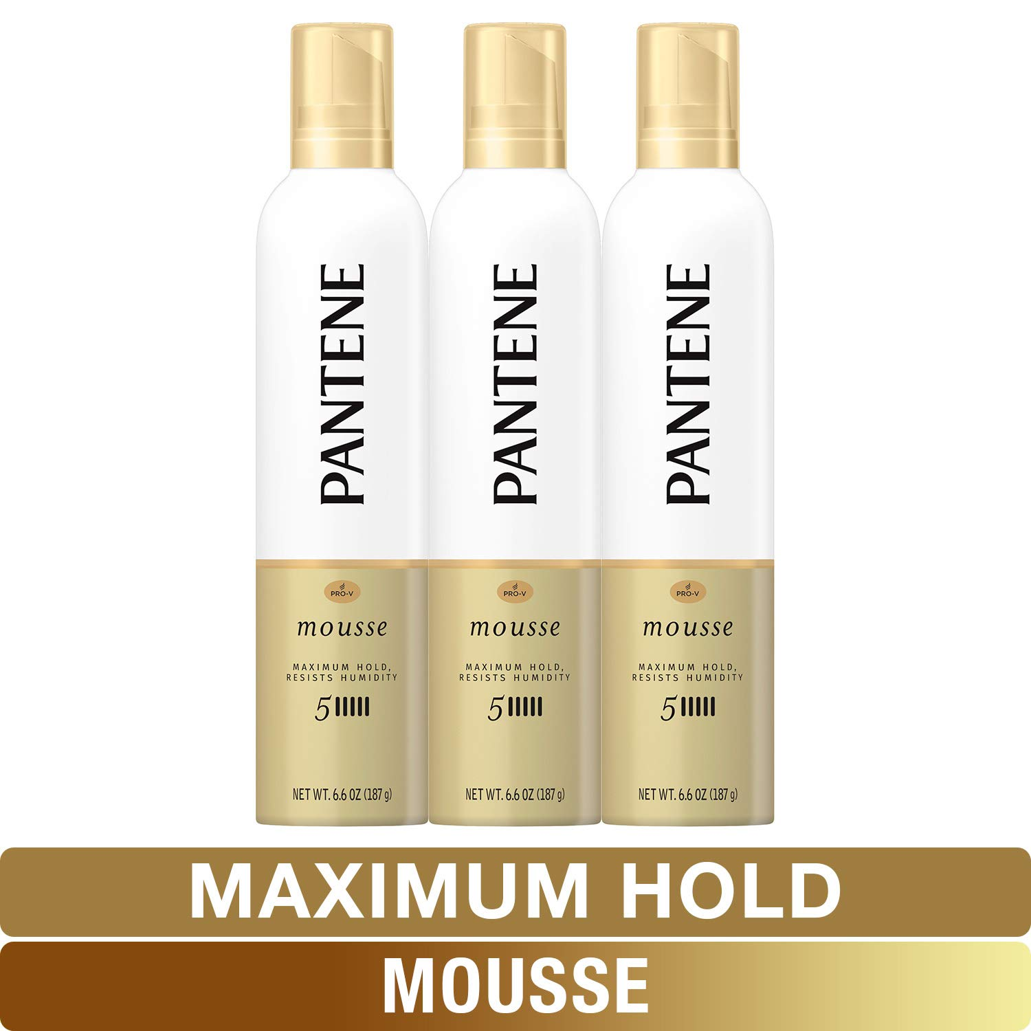 Pantene, Mousse, Maximum Hold, Pro-V, Humidity Resistant, 6.6 Ounce (Pack of 3)
