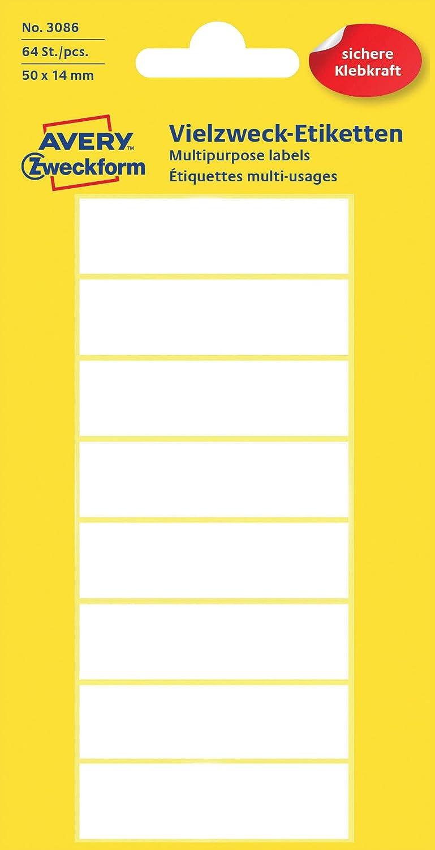 - /Étiquettes auto-collantes Avery Zweckform 3086 /étiquette auto-collante Blanc Rectangle Permanent 64 pi/èce s Blanc, Rectangle, Permanent, 50 x 14 mm, S, Papier