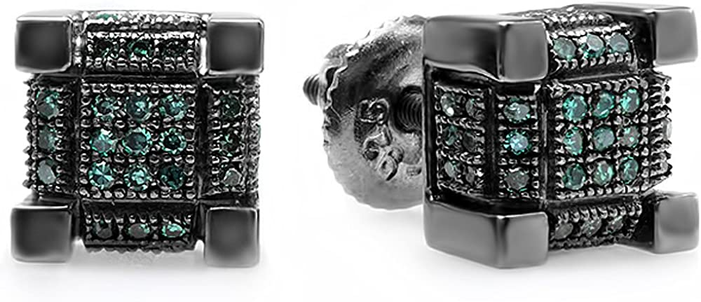 Dazzlingrock Collection 0.25 Carat (ctw) Black Rhodium Plated Mens Hip Hop Cube Stud Earrings 1/4 CT, Sterling Silver