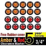 "20 Pcs TMH 3/4"" Inch Mount 10 pcs Amber & 10 pcs RED LED Clearance Markers Bullet Marker lights, side marker lights, led marker lights, led side marker lights, led trailer marker lights"