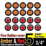 20-Pcs-TMH-34-Inch-Mount-10-pcs-Amber--10-pcs-RED-LED-Clearance-Markers-Bullet-Marker-lights-side-marker-light