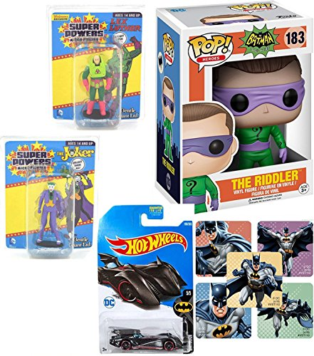 DC Batman Funko Riddler Figure Bad Guy TV & Gentle Giant Super Powers Micro Retro Figures Exclusive Lex Luthor + Joker Mini character characters & Hot Wheels Batman Batmobile with Sticker set