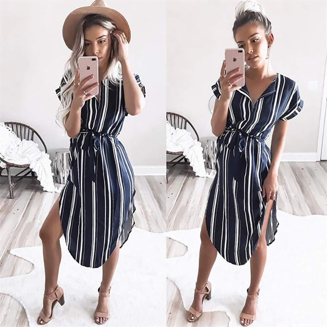 ECOWISH Sommerkleider Damen Kurzarm V Ausschnitt Strand